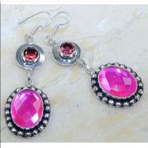 Pretty Pink Rhinestone 925 Sterling Earrings